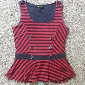 MONTEAU striped peplum tank